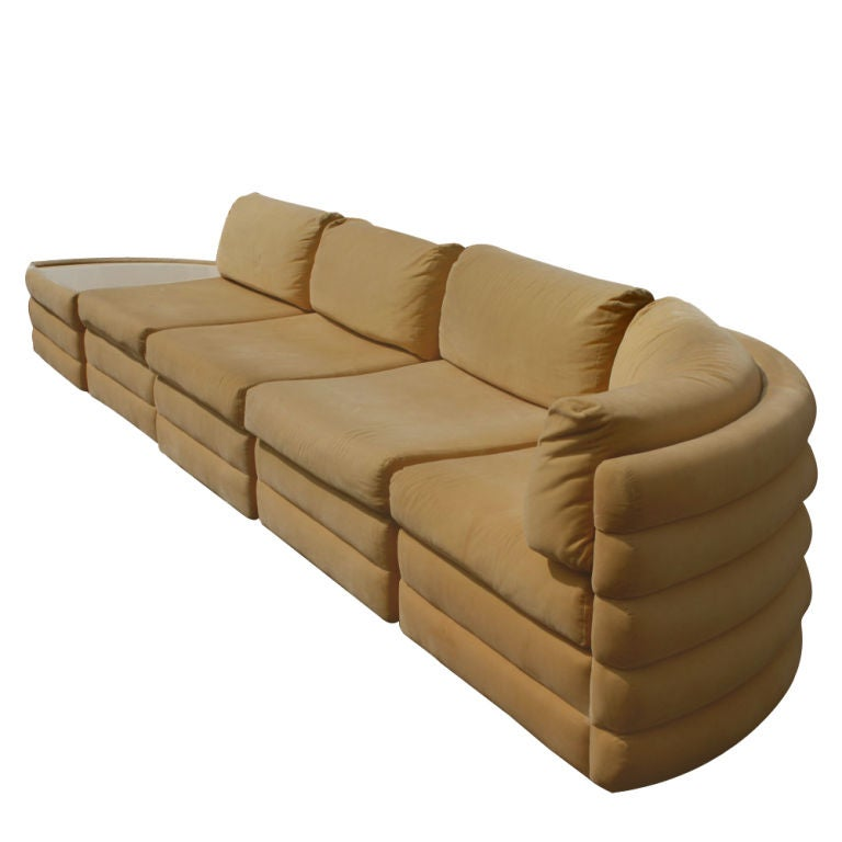A mid century modern five piece sectional designed by Milo Baughman and made by Thayer Coggin. There are four seating sections plus additional section with white laminate top side table. Original apricot velvet upholstery.   Corner piece is 36