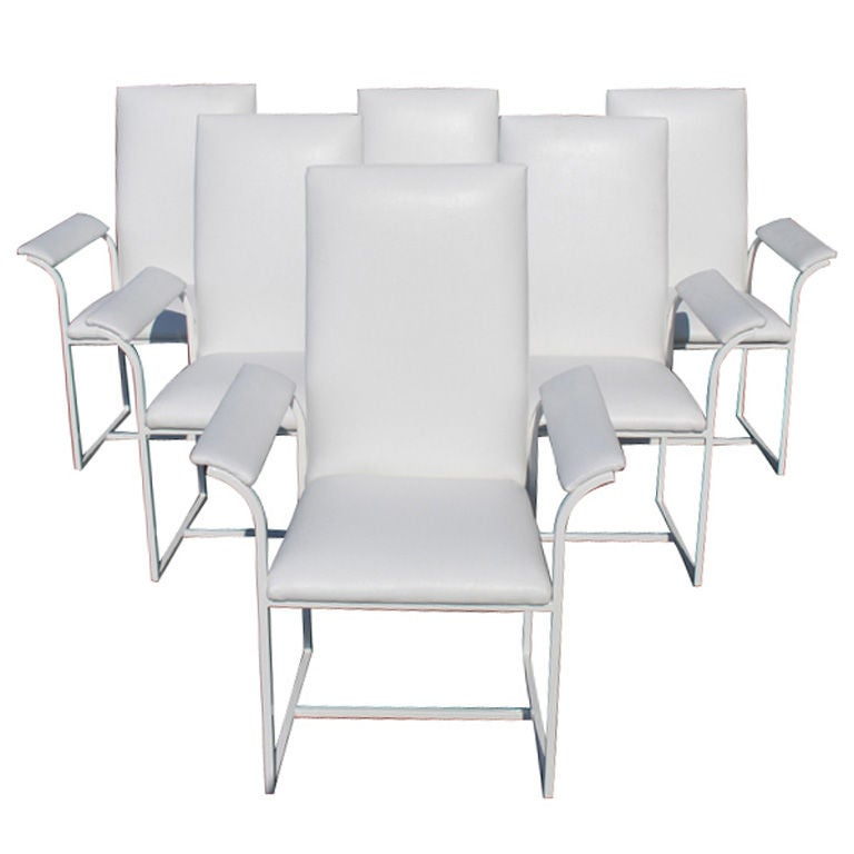 Six Milo Baughman Style High Back Dining Chairs