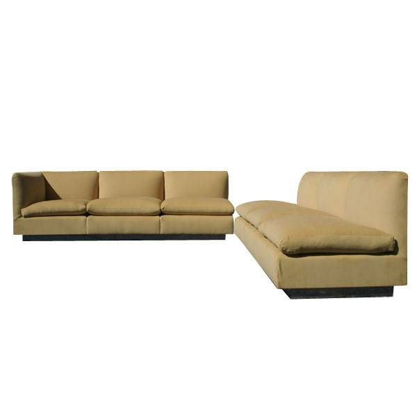 Sectional sofa in new corduroy fabric designed by Milo Baughman for Thayer Coggin.