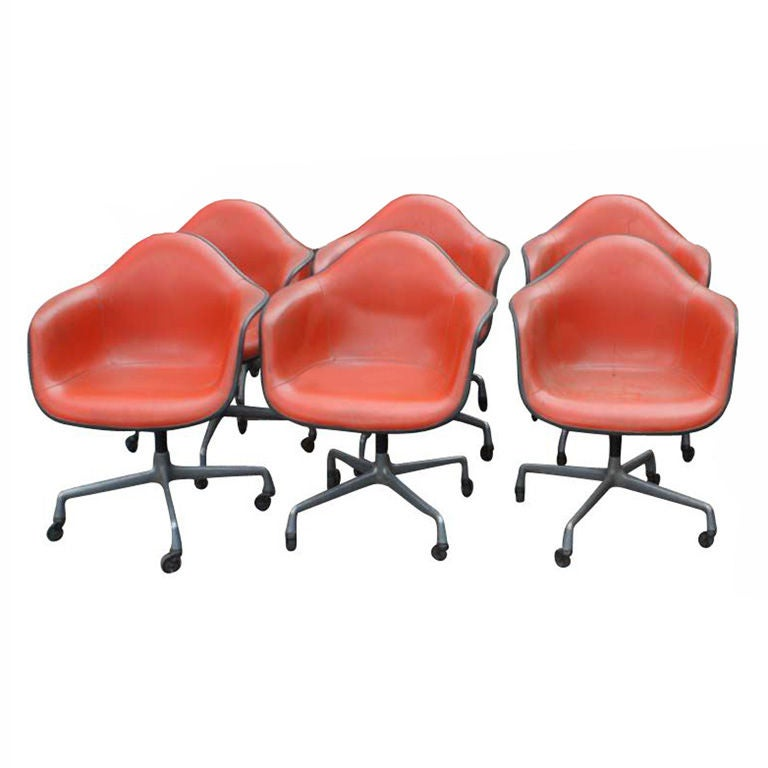 set of 6 vintage herman miller eames shell armchairs at 1stdibs