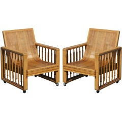 Pair of Vintage Split Bamboo Armchairs