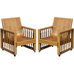 Pair of Vintage Split Bamboo Armchairs
