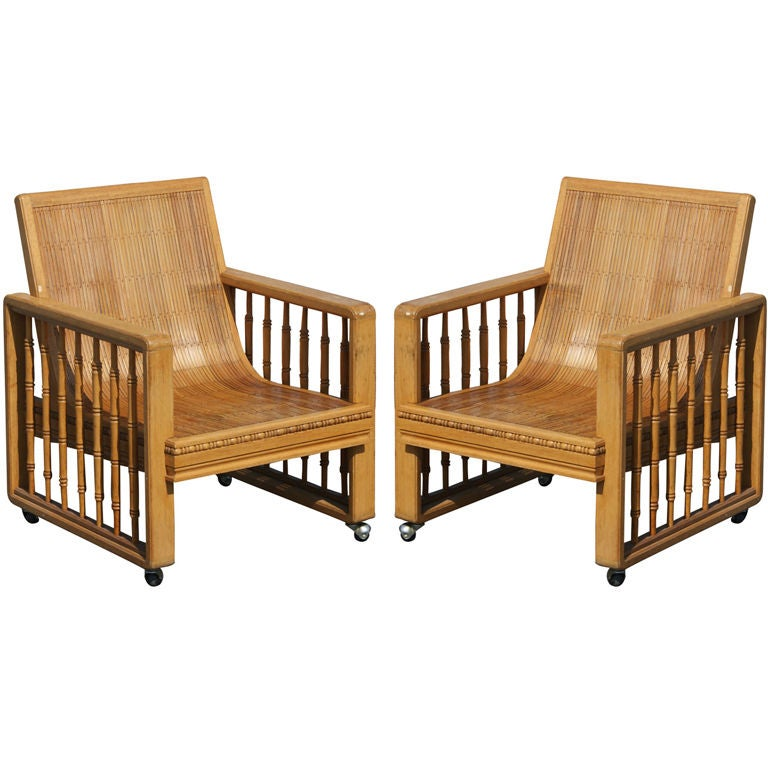 Pair of Vintage Split Bamboo Armchairs For Sale