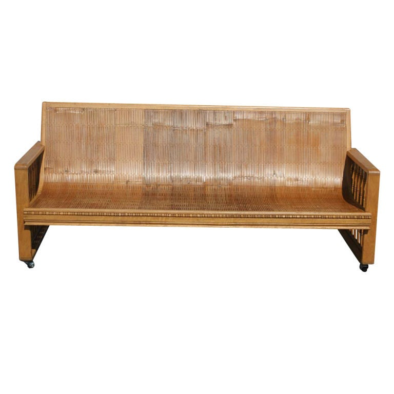 Vintage Split Bamboo Sofa Couch On Casters 3