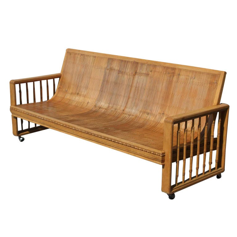 Vintage Split Bamboo Sofa Couch on Casters 4