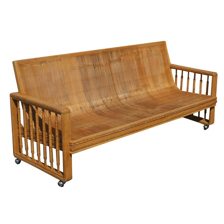 Vintage Split Bamboo Sofa Couch On Casters At 1stdibs
