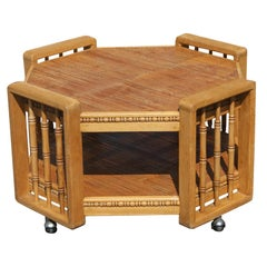 Vintage Split Bamboo Two Tier Coffee Table