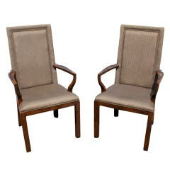 Pair of Baker High Back Arm Chairs