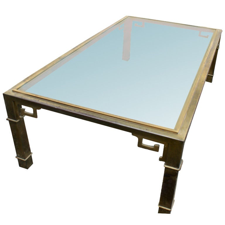 Mastercraft Asian Motif Brass And Glass Coffee Table At