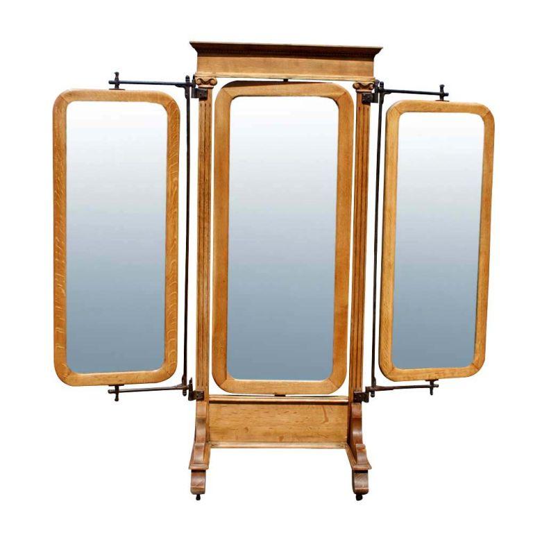 American Empire Oak Triple Dressing Mirror  2