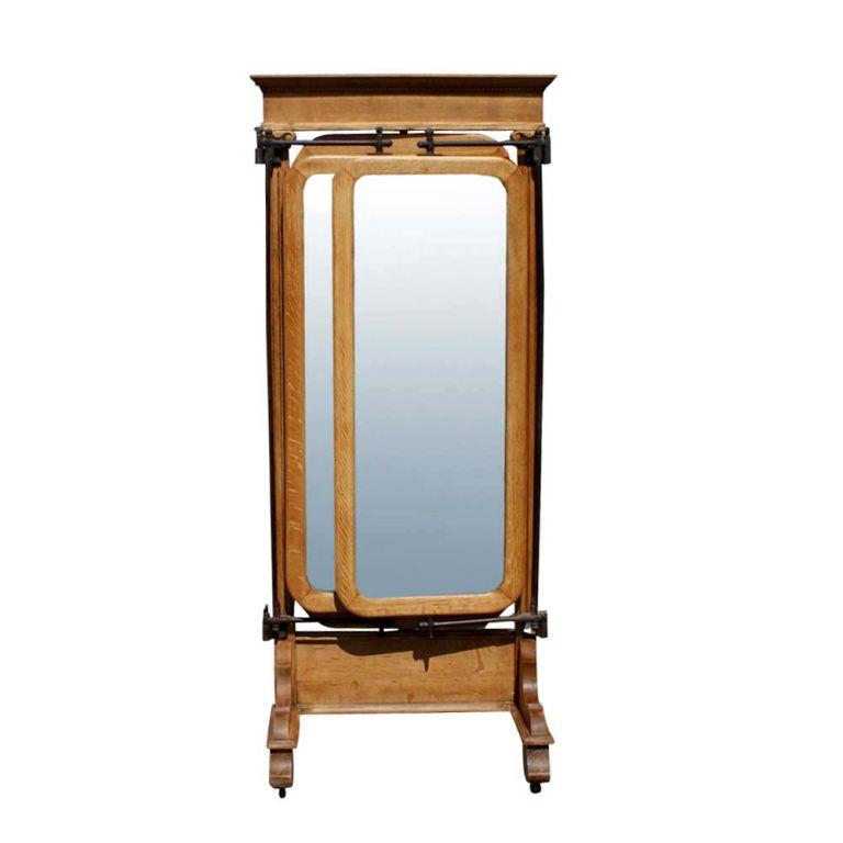 American Empire Oak Triple Dressing Mirror  3