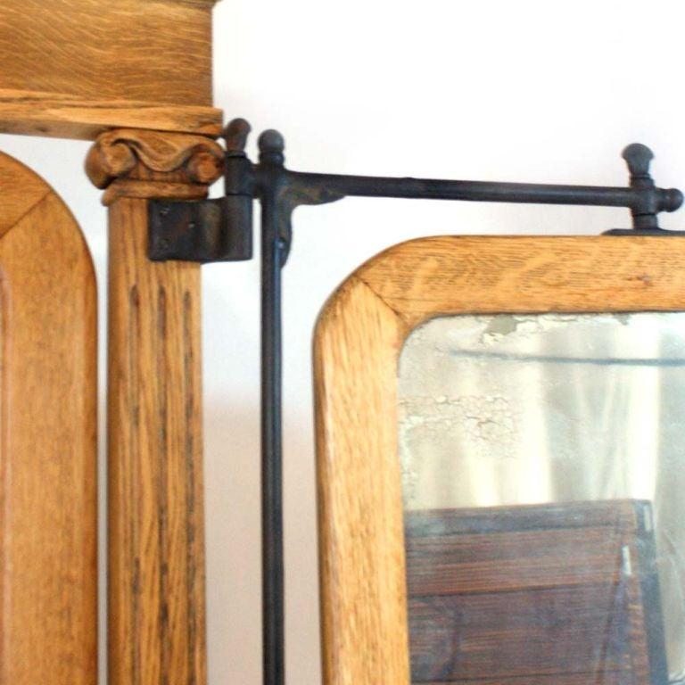 American Empire Oak Triple Dressing Mirror  5