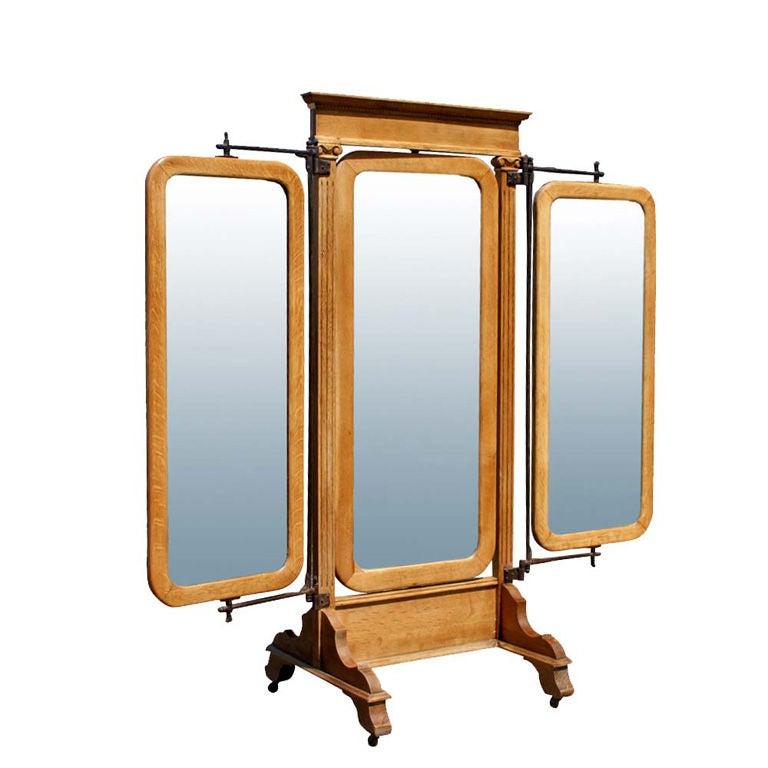 American Empire Oak Triple Dressing Mirror  1