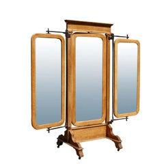 American Empire Oak Triple Dressing Mirror