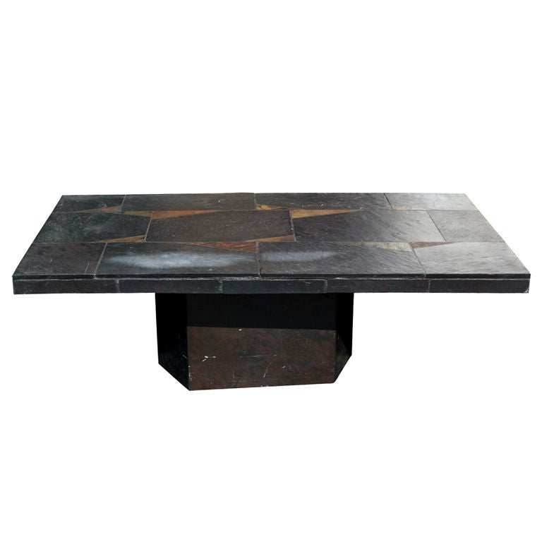 Vintage Black Slate Patchwork Coffee Table 25 Off Original Of 3900 For Sale At 1stdibs