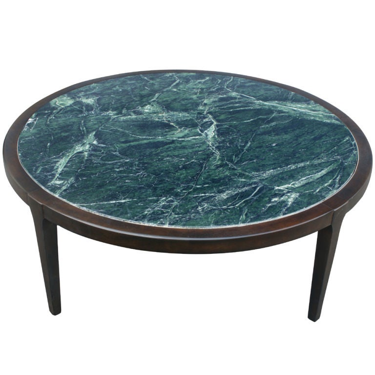 42 Walnut And Green Marble Round Coffee Table For Sale At 1stdibs