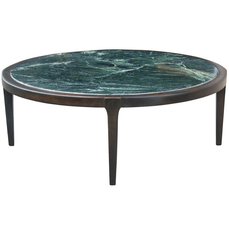 42quot walnut and green marble round coffee table for sale at for Marble and walnut coffee table