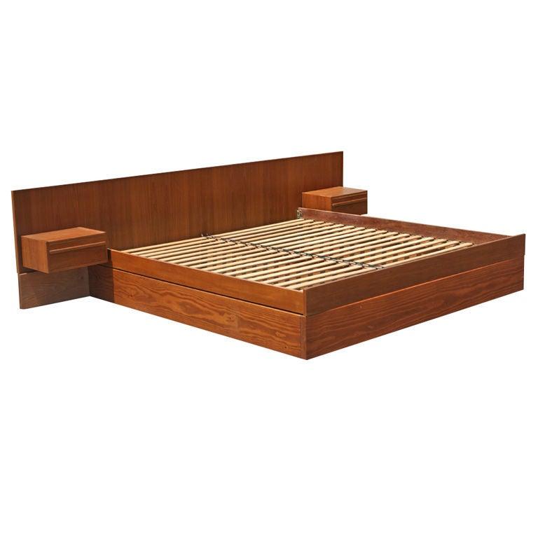 Danish Teak King Size Platform Bed With Nightstands At 1stdibs