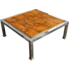 Burled Olivewood Coffee Table In The Manner Of Milo Baughman