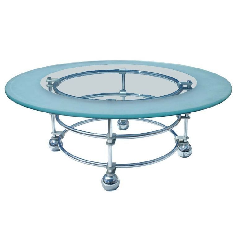 Jay Spectre for Century Furniture Chrome and Glass Coffee Table 1