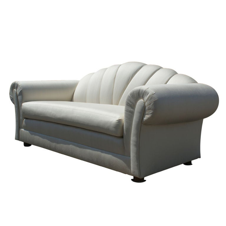 Art Deco Style Fine Quality Silk Channel Back Settee At