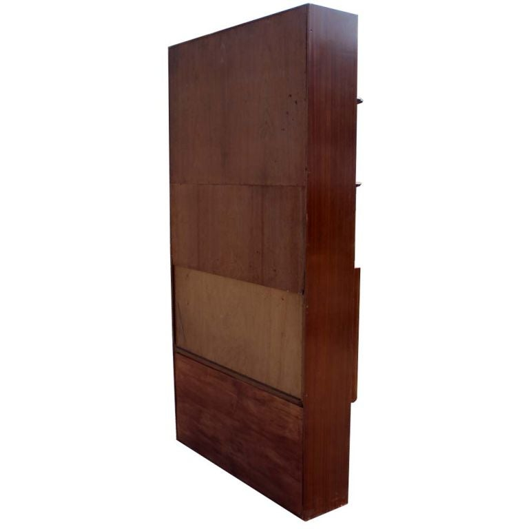 American Mid Century Exotic Wood Bookcase with Hideaway Mini Bar For Sale