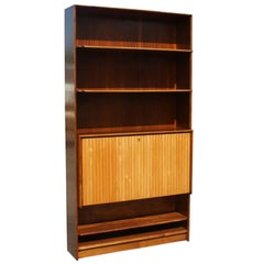 Mid Century Exotic Wood Bookcase with Hideaway Mini Bar