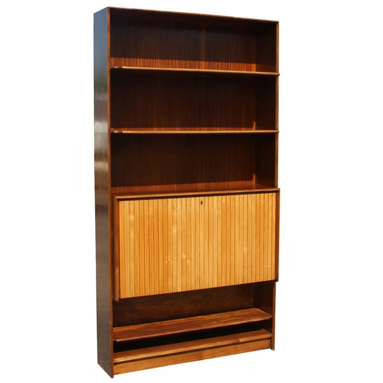 Mid Century Exotic Wood Bookcase with Hideaway Mini Bar For Sale