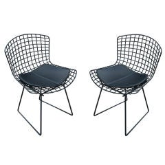 Pair Of Harry Bertoia For Knoll Black Side Chairs