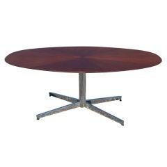 Stow Davis Mahogany Starburst Oval Table Desk