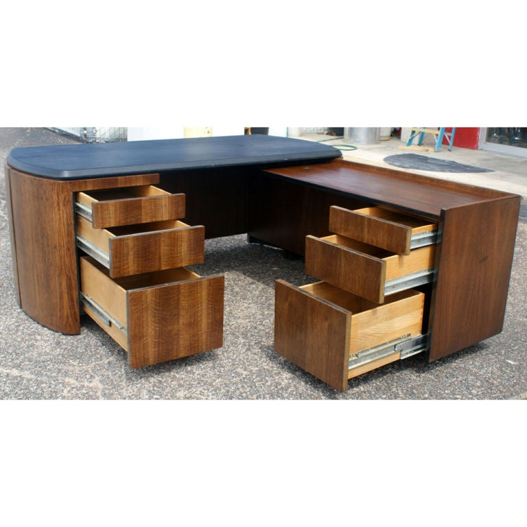 American Mid Century Oak and Leather Desk by Lydia dePolo for Dunbar For Sale
