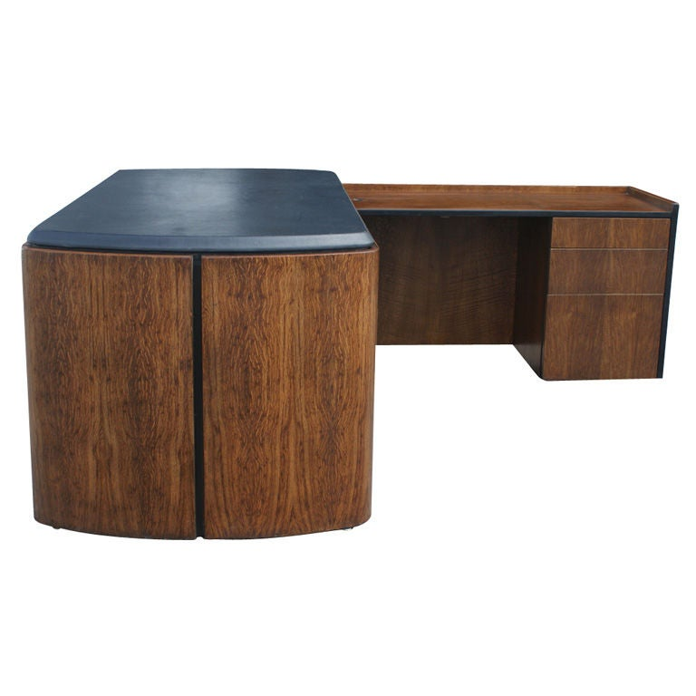 Mid Century Oak and Leather Desk by Lydia dePolo for Dunbar For Sale