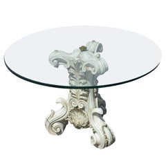 1970s 80s Ornate Traditional Classical Pedestal Side Coffee Table
