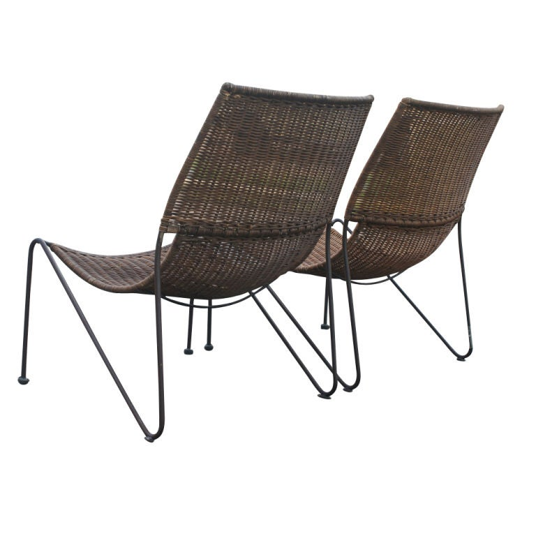 American Frederick Weinberg Wicker And Iron Lounge Chairs For Sale