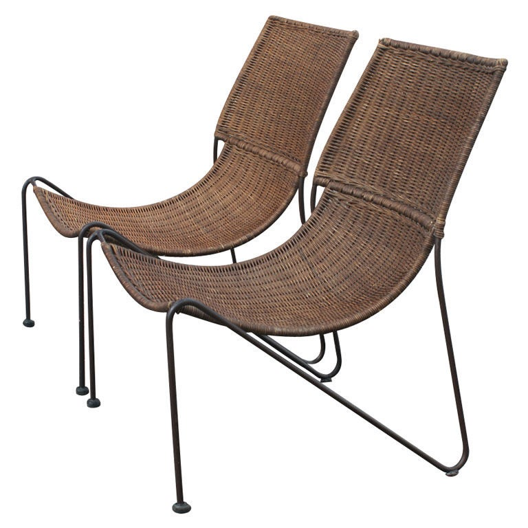 Frederick Weinberg Wicker And Iron Lounge Chairs at 1stdibs