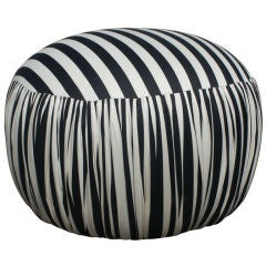 Contemporary Round Black And White Pouf Ottoman