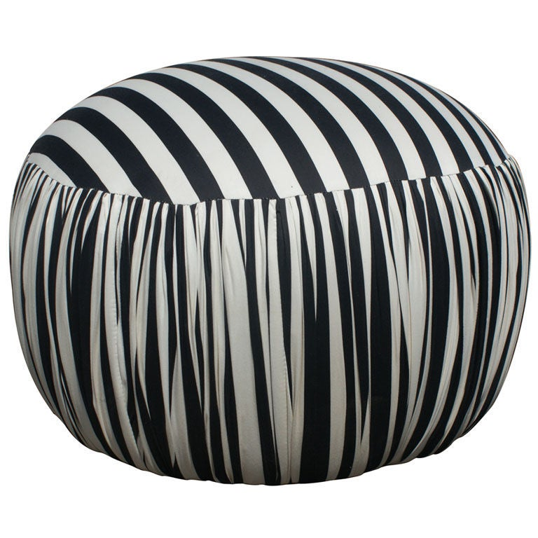 Contemporary Round Black And White Pouf Ottoman For Sale