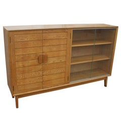 Mid Century Oak China Display Cabinet