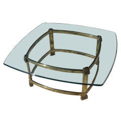 Neo Classical Italian Brass And Glass Coffee Table