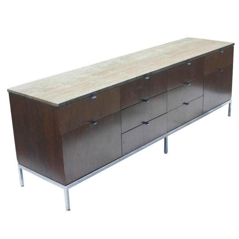 florence knoll for knoll rosewood and marble buffet. Black Bedroom Furniture Sets. Home Design Ideas