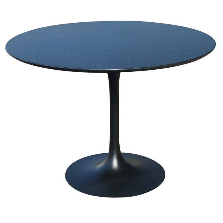 Saarinen style round black granite dining table at 1stdibs for Granite dining table