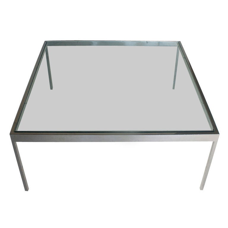 Brueton stainless steel and glass coffee table at 1stdibs Steel and glass coffee table