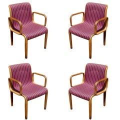 Four Bill Stephens For Knoll Arm Chairs With Girard Fabric
