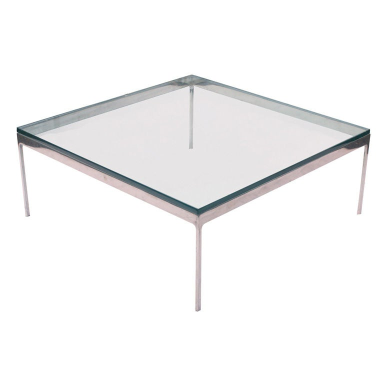 Zographos square stainless steel coffee table for sale at 1stdibs Metal square coffee table