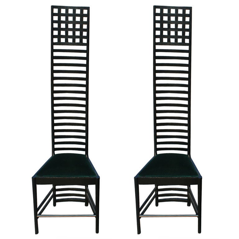 Pair Charles Rennie Mackintosh Hill House Chairs By Cassina
