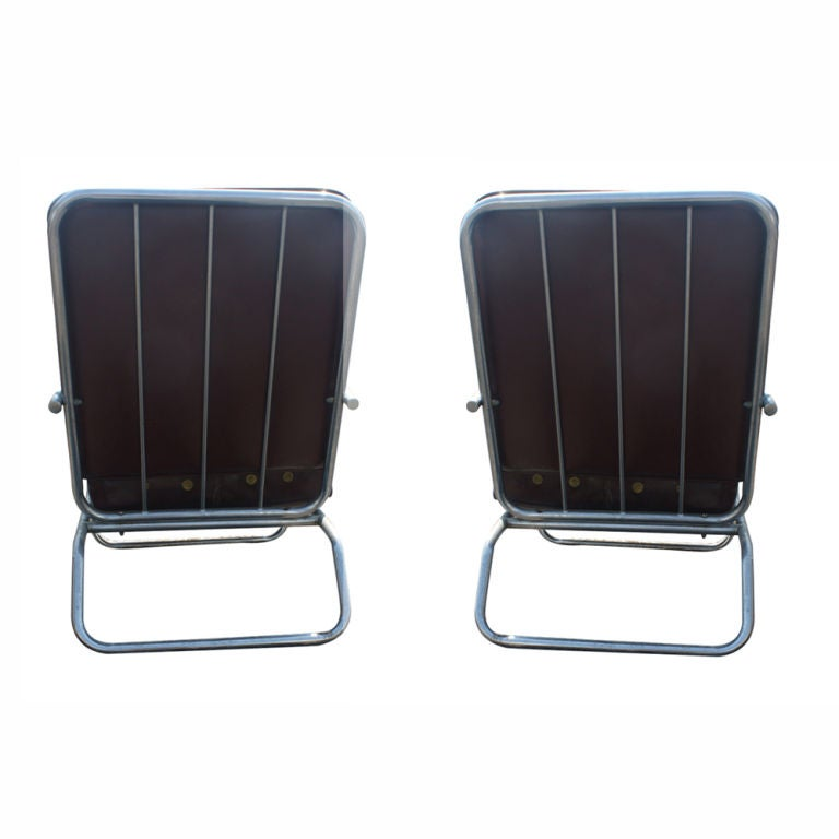 Pair Of Art Moderne Royal Chrome Lounge Chairs at 1stdibs