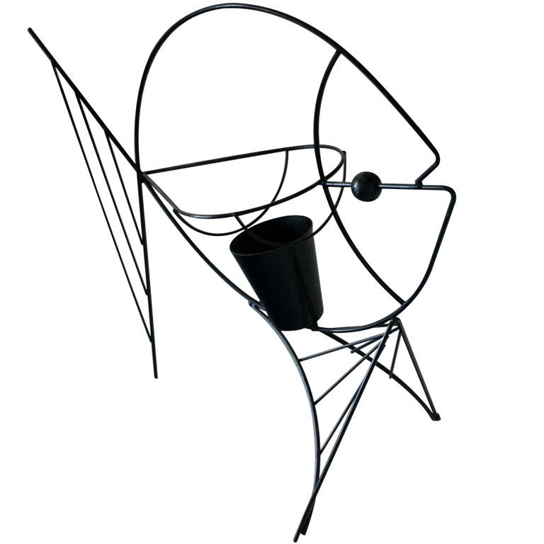 Frederick Weinberg Black Iron Fish Sculpture For Sale