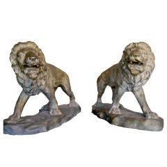 "27"" Cast Bronze Sculptures of Two Lions"