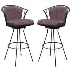 Pair Of Vintage Woodard Wrought Iron Stools