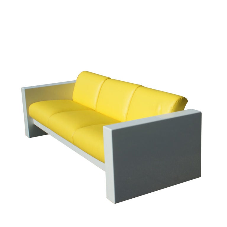 A mid century modern sofa designed by Brian Kane and made by Metro.  A restored fiberglass frame with new Sunbrella upholstered cushions. Other vinyl colors available.  As shown in the last image, we have matching pieces also available on 1stdibs.